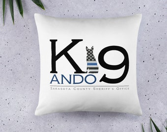 blue line police flag pillow gift for him personalized present house warming wedding gift retirement