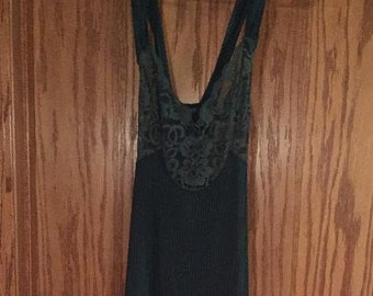 Vintage Long Green Lacy Nylon Nightgown~ 1980/'s Kyanna Nightgown ~ Silky Green Nylon Gown ~ Green Nightgown ~ Long Green Nightgown M