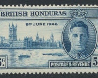 1946 Victory Issue British Honduras Set of 2 Postage Stamps KGVI Mint Never Hinged