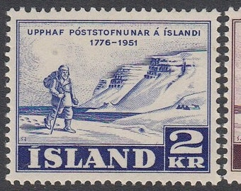 Icelandic Postal Service Set of 2 Postage Stamps Issued 1951 Mint Never Hinged