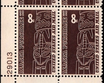 1967 Tlingit Totem Alaska Purchase Plate Block of 4 US 8c Airmail Stamps Mint Never Hinged