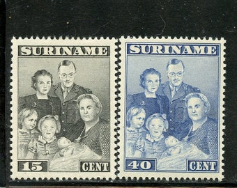 1943 Princess Margriet Set of 4 Suriname Postage Stamps Mint Never Hinged