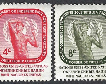 1959 United Nations New York Trusteeship Council Set of 2 Postage Stamps Mint Never Hinged