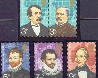 British Explorers Set of 5 Great Britain Postage Stamps Issued 1973 Mint Never Hinged