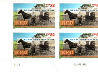 1996 Rural Delivery Plate Block of 4 US Postage Stamps Mint Never Hinged