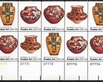1977 Pueblo Pottery Plate Block of 10 US 13c Postage Stamps Mint Never Hinged