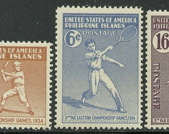 1934 Far Eastern Games Set of 3 Philippines Postage Stamps Mint Never Hinged