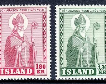 1950 Bishop Arason Set of 2 Iceland Postage Stamps Mint Never Hinged