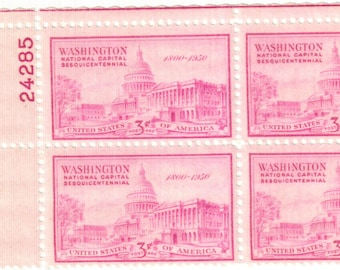 1950 National Capitol Sesquicentennial US Capitol Building Plate Block of 4 US 3c Postage Stamps Mint Never Hinged