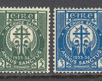 1933 Adoration of the Cross Set of 2 Ireland Postage Stamps Mint Never Hinged