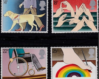 1981 International Year of Persons With Disabilities Set of 4 Great Britain Postage Stamps Mint Never Hinged