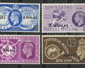 1949 KGVI Set of 4 Oman Postage Stamps Honoring Universal Postal Union Mint Never Hinged