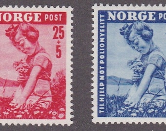 1950 Girl Picking Flowers Set of 2 Norway Postage Stamps Mint Never Hinged