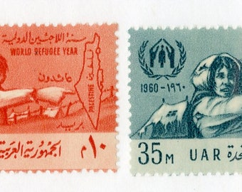 1960 Refugees Set of 2 Egypt Postage Stamps Mint Never Hinged