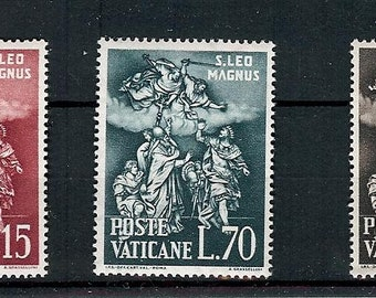 1961 St Leo Defying Attila Set of 3 Vatican Postage Stamps Mint Never Hinged