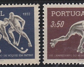 1952 Roller Hockey World Championship Set of 2 Portugal Postage Stamps Mint Never Hinged