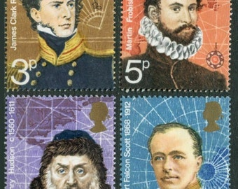 1972 British Polar Explorers Set of 4 Great Britain Postage Stamps Mint Never Hinged