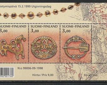 Finland Ancient Jewelry Souvenir Sheet With 3 Postage Stamps Mint Never Hinged