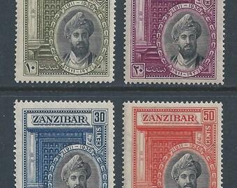 1936 Sultan Chalifa bin Harub Set of 4 Zanzibar Postage Stamps Mint Never Hinged