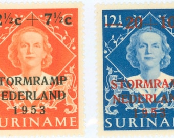 1953 Flood Relief in the Netherlands Set of 2 Suriname Postage Stamps Mint Never Hinged