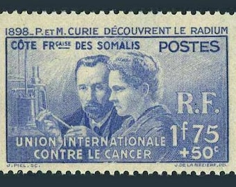 Pierre and Marie Curie 1938 Somali Coast Mint Postage Stamp