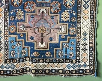 "3'8"" x 7'8"" Antique / Vintage neutral tone 1920s Caucasian Kazak rug runner"