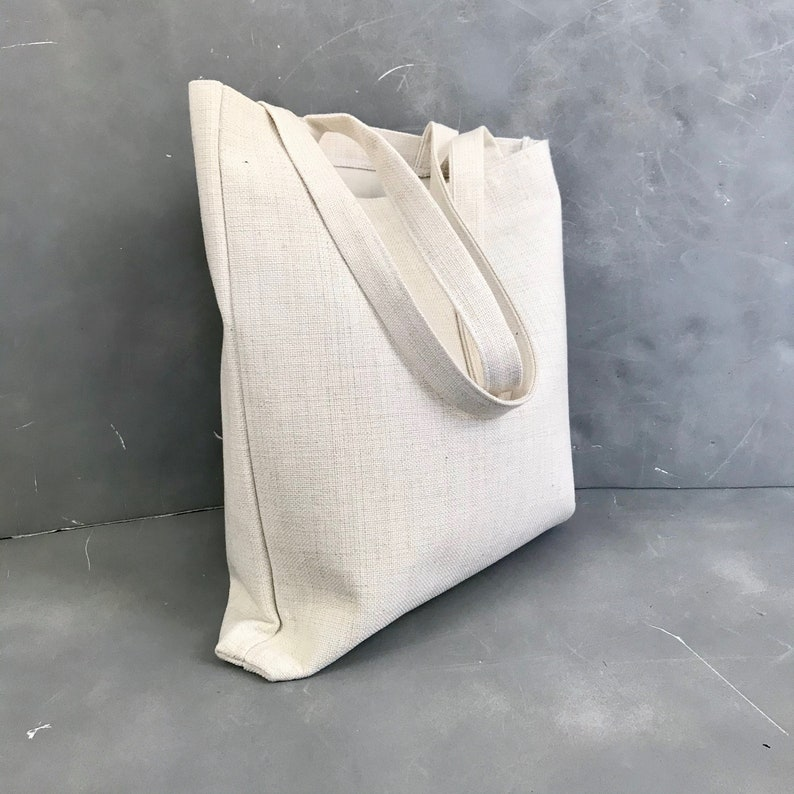 Faux Linen Fabric Natural White Black Tan Area Code Tote Bag Printed City Town State Shopping Bag Customizable Personalized Gift