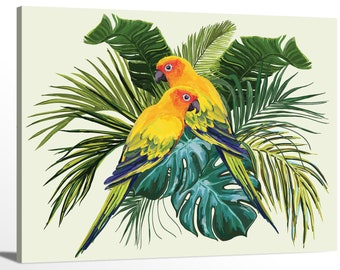 COLOURFUL PARROTS TROPICAL BIRDS BOX CANVAS PRINT WALL ART PICTURE