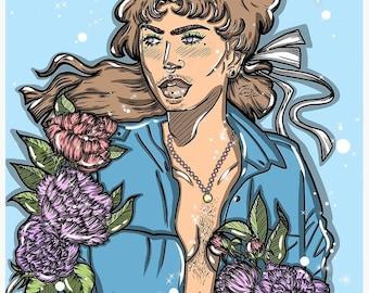 Sapphire Postcard Print, Digital Print, Postcard, Mini Print, Queer, Trans, LGBTQ+, Body Positive, Non-Binary, Art