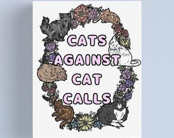 Cats Against Cat Calls Art Print, Digital Print, Print, Feminist Print, Cats, Cat Art, Cat Lover, Feminist Art, Cat Lady,