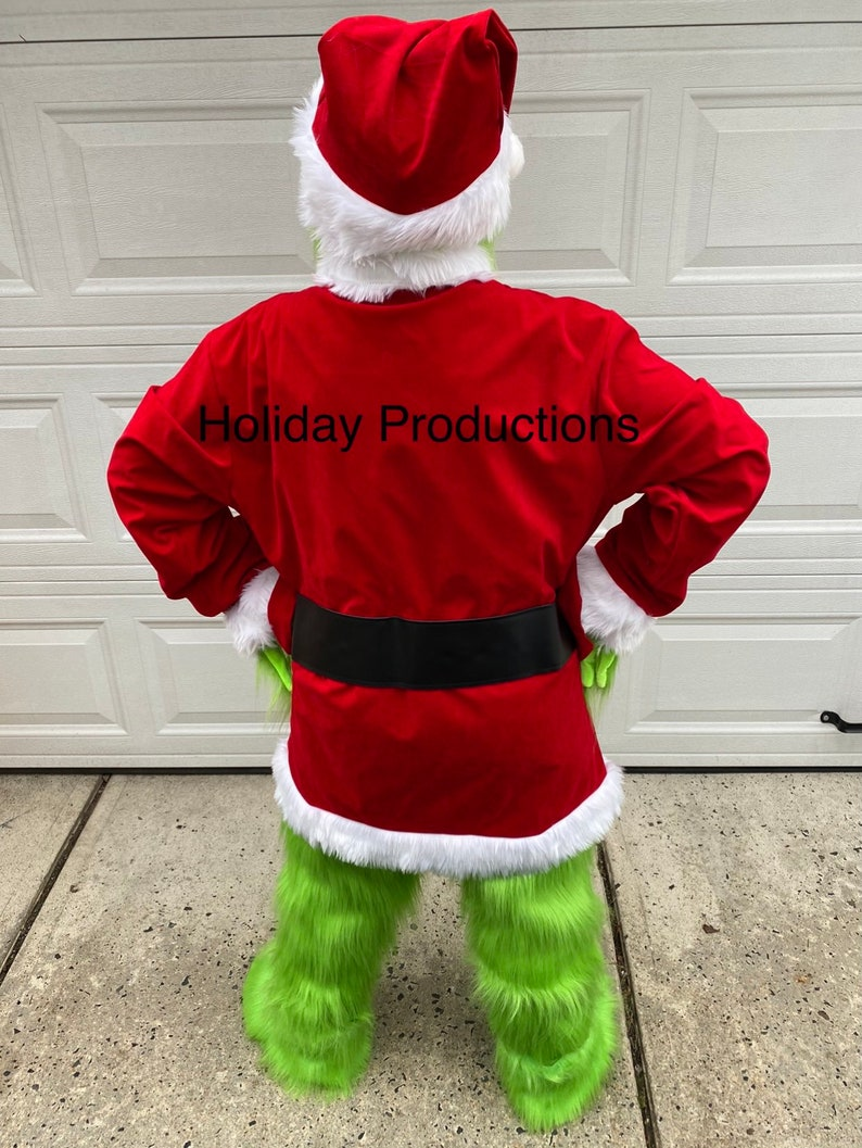 Deluxe Adult Large Grinch Mascot Costume Dr Seuss New Christmas Parade Ships ASAP Cosplay