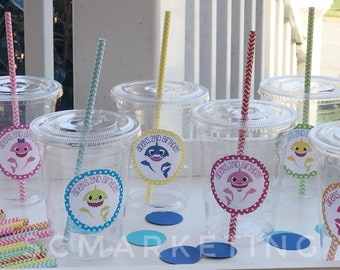 Personalized Baby Shark Disposable Party Cups Lids Straws Set of 24