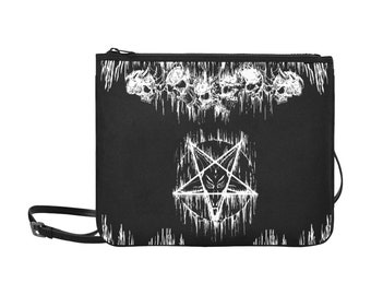 Skull Satanic Cross Crowned Goat Satanic Pentagram Night Church Purse Handbag-Satanic Purse-Goth Satanic Purse-
