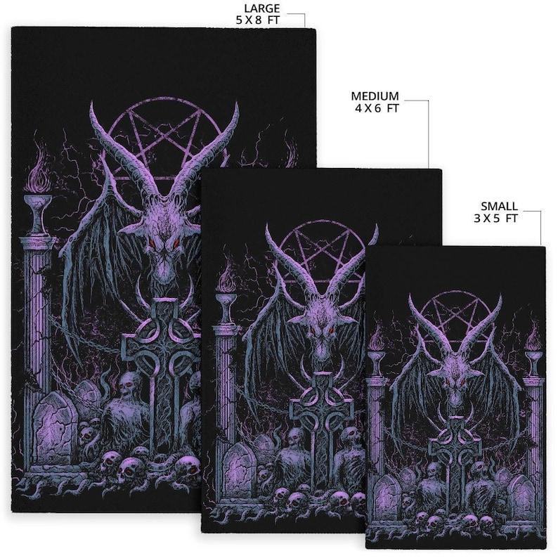 Skull Satanic Pentagram Baphomet Demon Bat Wing Goat Grave Shrine Area Rug Awesome Night Blue Purple Pink Tint-Satanic Baphomet Rug
