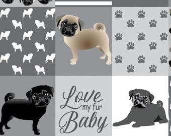 THROW BLANKET PUG Dog Love My Fur Baby - Pet Throw Blanket - Dog Quilt - Dog Mom Gift