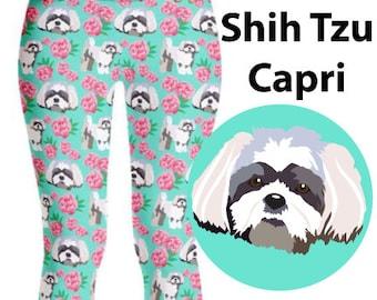 SHIH TZU LEGGING, Shih Tzu Dog & Peony Lovers Gift, Shih Tzu Mom, Legging Pants Shih Tzu Dog Pattern, Outfit For Women Yoga Gym Workout Wear