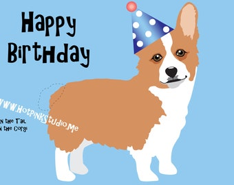 GAME PIN the TAIL on the Tan Corgi Dog Birthday Party Game - Printable diy game - Party Banner - Dog Party Decor