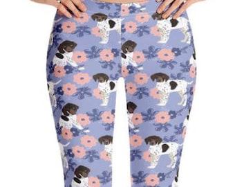 LEGGINGS POINTER DOG - German Shorthaired Pointer Puppies Leggings, Women's Yoga Pants - Dog Mom Gift