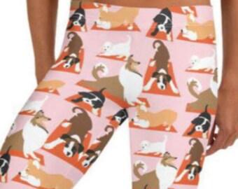 LEGGINGS YOGA DOGS Pink, Yoga Pants for Women, Dog Mom Gift, Dog Lover Gift