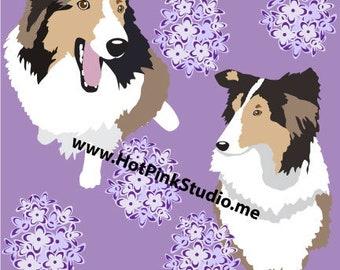 LEGGINGS SHELTIE DOG Lavender Comfortable Pants - Exercise Tights - Yoga Pants - Collie Dog