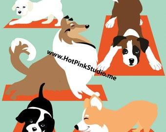 YOGA DOGS LEGGINGS Teal color for women, Athletic Leggings, Running Tights, Collie, Corgi, Labrador