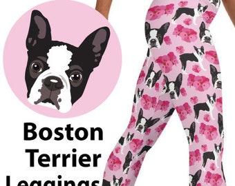 BOSTON TERRIER LEGGINGS - Dog With Pink Flowers - Pattern Print Dog Yoga Leggings - High Waist Compression Leggings - Terrier Dog Gift