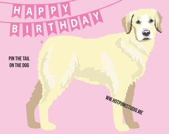 GAME PIN the TAIL on the Dog Golden Retriever Birthday Party Game Pink- do it yourself party game - Dog Party Banner- Dog party decor
