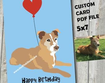 YOUR DOG on a CARD, Cute Dog Card, Dog love card, Dog birthday card, Animal card, I love you card for him