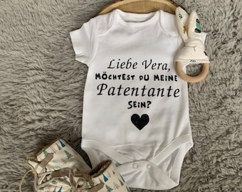 personalized with the name of the baby Babybody with saying  Would you like to be my patentante godson