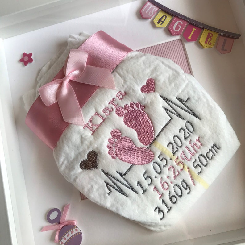 Embroidered diaper in 3D picture frame and 3D sticker  Question to the godparents