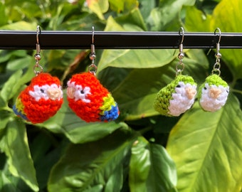 Scarlet Macaw & Green Quaker Parrot Crochet Earrings  | Tropical, Exotic, Colorful Bird | Monk Parakeet | Handmade Jewelry | Cute Gift