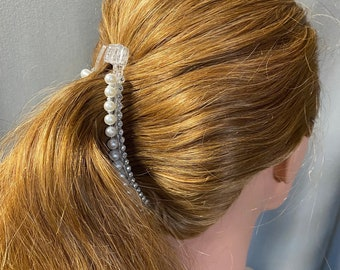 Vintage Hair Accessory Faux Pearls Double Strand Banana Clip Wedding Bride Bridal Prom Quinceanera Pearl Updo Hair Accessories Clips