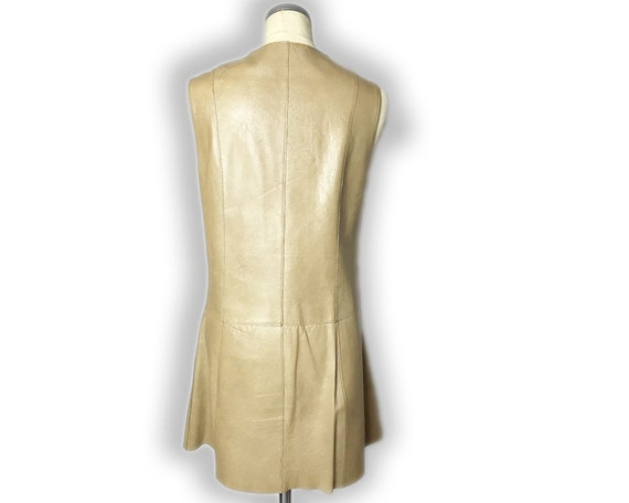 Vintage 1960s Mod Leather Mini Dress Gold Buckles… - image 6