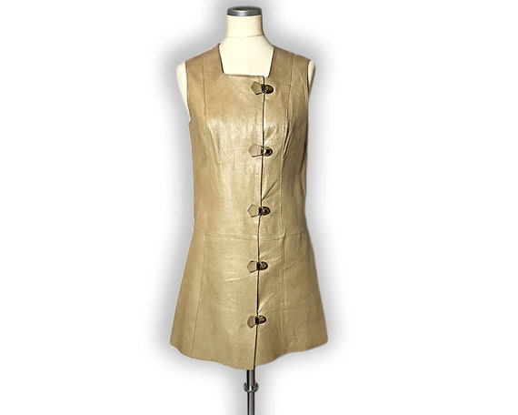 Vintage 1960s Mod Leather Mini Dress Gold Buckles… - image 3